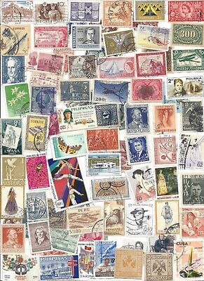 75 Different cancelled Worldwide  Stamps 10/31