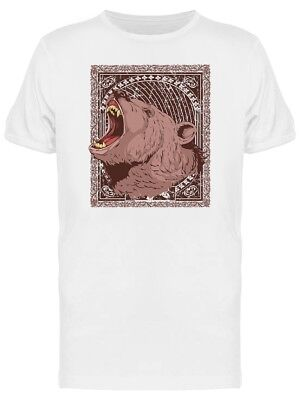 GRIZZLY BEAR ROARING At Moon Men's Tee -Image by