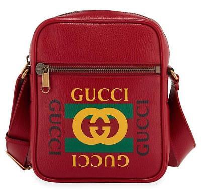 7db80164842a New Gucci Red Leather Current Vintage Logo Messenger Crossbody Bag Unisex