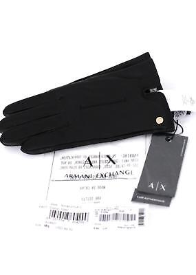 6a17a8e101b8f NEW $89 womens black AX ARMANI EXCHANGE sheep leather gloves fleece lined M  / L