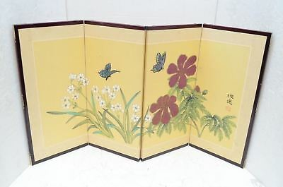 Vintage Japanese Chinese 4 Panel Folding Screen Byobu Painted 32x17 Asian floral