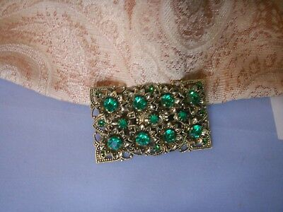 Old Antique 1930s Art Deco Czech Brass Rhinestone Large Brooch Pin Floral Fine