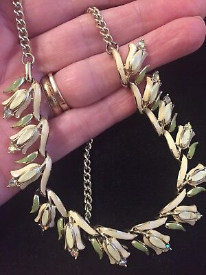 VINTAGE JEWELLERY 1950's CORO ENAMEL LILY OF THE VALLEY NECKLACE