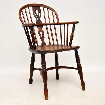 Antique Period Solid Elm Windsor Armchair