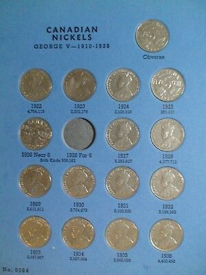 1922 To 1960 Canada NICKEL BOOK 44 FIVE CENT COINS WHITMAN ALBUM PRICED TO SELL!
