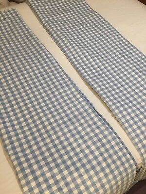 John Lewis Blue & White Gingham Black Out Curtains Nursery Child's Room