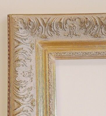 Picture Frame 8x10 Vintage Antique Style Baroque White Gray Gold Ornate 1360AW