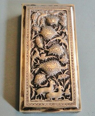 Antique Ornate Persian Solid 84 Silver Box Birds & Animals Signed 330 Gr. 1900
