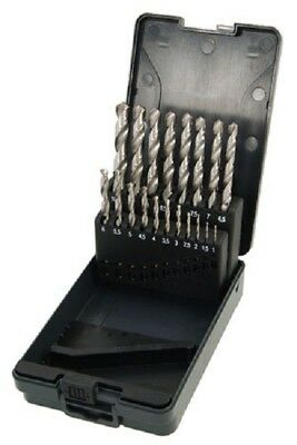 19pc HSS Ground Drill Bit Set for Metal 1.0mm to 10.0mm Storage Box