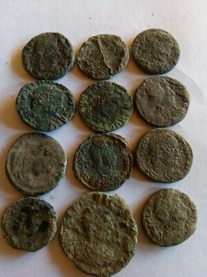 096.Lot of 12 Ancient Roman Bronze Coins,Uncleaned