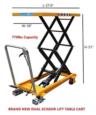 BRAND New Dual Scissor Hydraulic Lift Table Cart 770lbs Capacity
