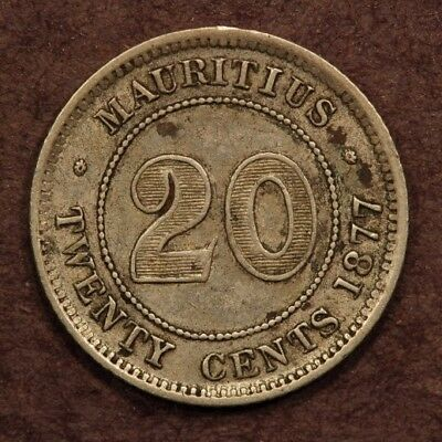 Mauritius 20 Cents 1877-H  Silver ChVF