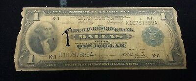 1918 USA $1 National Currency Note - Federal Reserve Bank of Dallas Texas