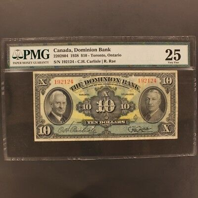 Canada - Dominion Bank 10 Dollars 3.1.1938 P#S304s Banknote PMG 25 - Very Fine