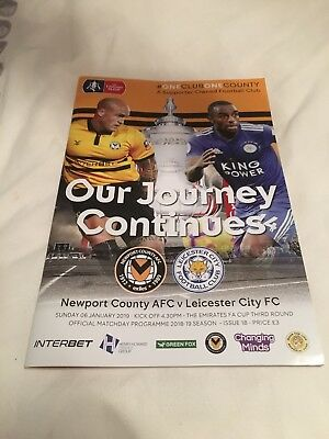 Newport County v Leicester City 2019 FA Cup 3rd Round Football Programme