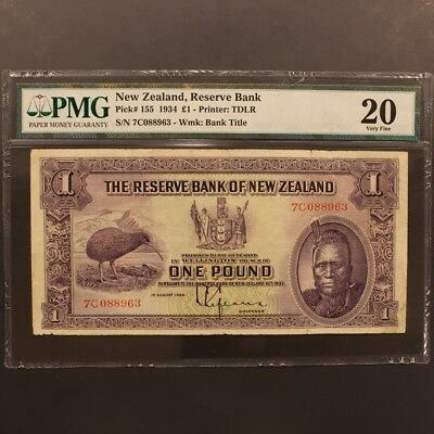 New Zealand Pound 1.8.1934 P#155 Banknote PMG 20 - Very Fine
