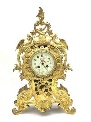 Antique 19th c French Gilt pierced Bronze Roccoco 8 Day Bell Strike Mantle Clock