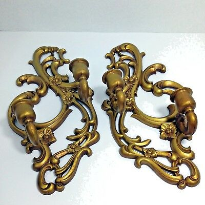 Vtg Sexton Home Interior Gold Metal Ornate Wall Sconces Candle Holder Decor MC