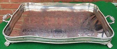 Old Vintage Large Silver Plated Sheffield? Two Handled Serving Tray On Copper