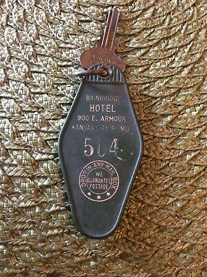 Vintage Rare Bainbridge Hotel Kansas City MO Missouri Key Tag Fob Badge
