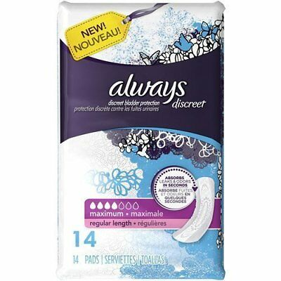 Always Discreet Incontinence Pads, Maximum, Regular Length, 14 Count (Pack of 2)