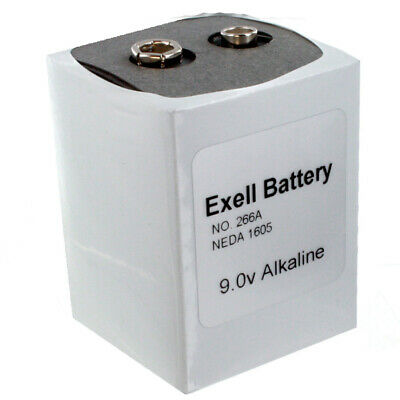 Exell 266 9V Alkaline Battery NEDA 1605, PP7,TR7 Replaces Eveready 266