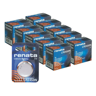 100pk Renata Coin Cell Battery CR2450 Lithium Replaces DL2450, BR2450
