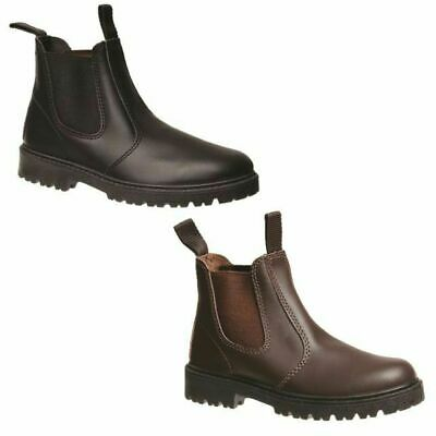 Grosby Rustle Kids Youth Boys Black / Brown Leather Pull On Shoes School Boots