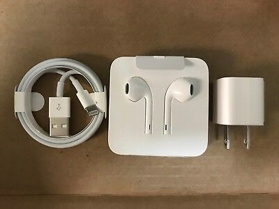 Apple Lightning Charger Cable and Earpods 3.5mm Adapter OEM iPhone 7 8 X Earbuds