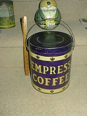 Antique Empress Large 5lb Coffee Tin Vintage Can Stone Ordean Wells Duluth Nice