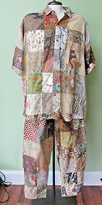 """Vintage Patch Art Top And Pants/  Made In Bali Indonesia/ 52"""" Chest Measurement"""