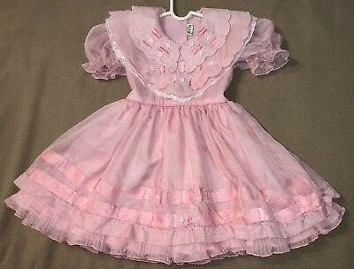 Vintage Pink Sheer Party Dress Size 4T with Ribbon, Layers, Ruffles by Karolita