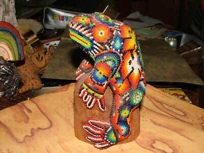 Vintage Huichol Indian Carved And Beaded Frog