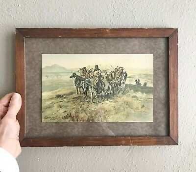OLD 1936 C.M. RUSSELL Framed Print Scouting Party Council Montana Orig. VINTAGE