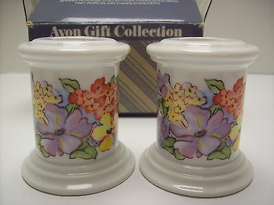Vintage Avon Spring Hostess Collection 2 Porcelain Candle Holders -  NEW