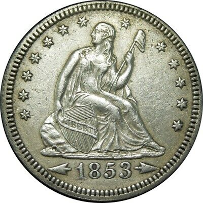 1853 25c Seated Liberty Silver Quarter AU+ rare old type coin money