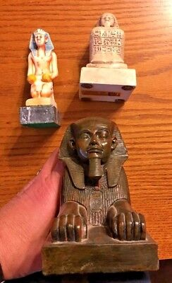 Lot Of 3 Ancient Egyptian Reproduction Pharaoh Sphinx Scribe Statues Sculptures