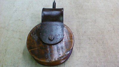 Vintage  Antique Cast Iron / Wood Barn Pulley Old Farm Primitive