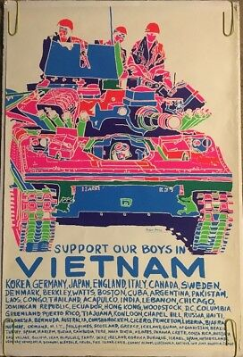 Support Our Boys In Vietnam Original Vintage Anti-War Peace Black Light Poster