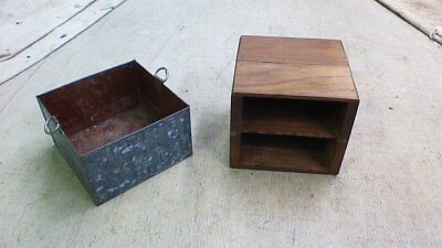 Vintage Galvanized Metal and Mahogany Wood Small Storage Box Parts Container Bin