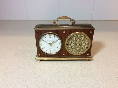 Vintage Remembrance Brass Swiss Made Music Box Alarm 8 day Clock