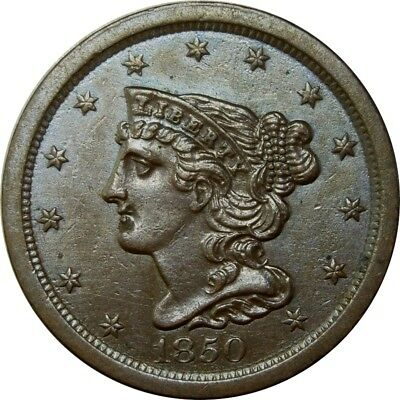 1850 1/2c Braided Hair Half Cent MS BU UNC or AU+ rare old type coin CS128