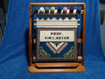 Salesman Sample Folk Art Mini Loom Wool Rug Persian Wooden Display