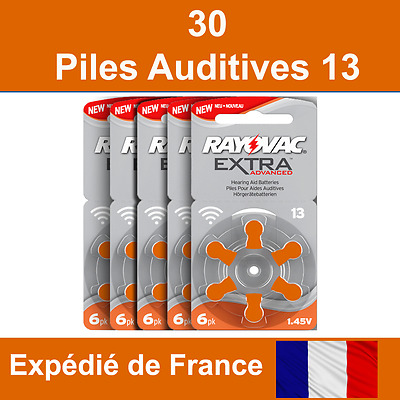 30 piles auditives Rayovac 13 / pile auditive 1.45V / pile pour appareil auditif