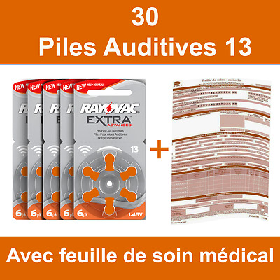 30 piles auditives Rayovac 13 / pile auditive 1.45V / pile - appareil auditif