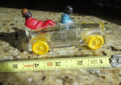 Amos & Andy Limo with Black  Chauffeur & Passenger Glass Candy Container