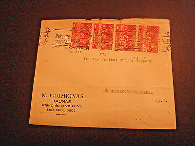 1939 LITHUANIA COVER with #306 STRIP OF 4  to U.S.A
