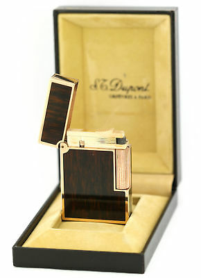 Dupont Brown Wood Grain Finish Chinese Lacquer Gold Trim Gatsby Lighter France