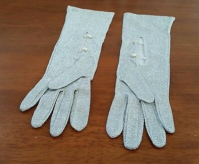 Vintage 70s LUMINEX Hong Kong SILVER GLITTER Mid Length BUTTON GLOVES size 7