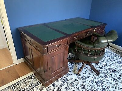 Antique Style Pedestal Office Desk And Chesterfield Captains Chair